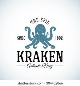 The Evil Kraken Authentic Navy Abstract Vector Logo Template. Textured. Isolated.