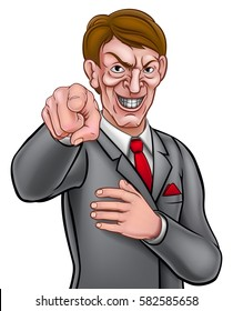 Evil looking businessman in a suit and tie pointing his finger in a needs you gesture