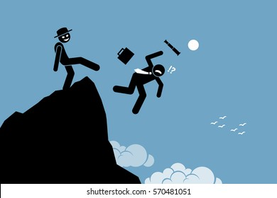 Evil man kicking down his business partner from the top of the hill. Vector artworks depicts betrayal, rivalry, and competition.