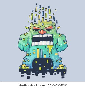 Evil Monster Destroyer. Cartoon illustration for print and web. Character in the modern graphic style. Trendy style.