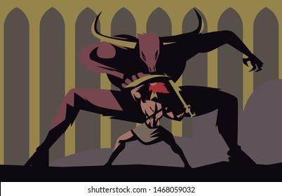 evil monster minotaur fighting greek warrior