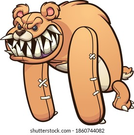 Evil monster teddy bear with sharp teeth. Vector clip art illustration with simple gradients. Some elements on separate layers.