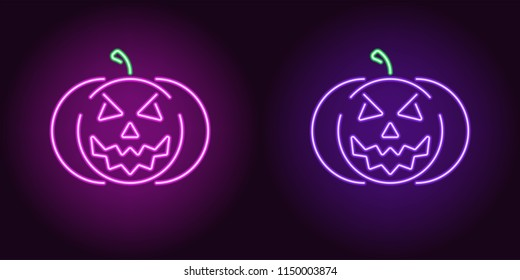 Evil neon pumpkin in purple and violet color. Vector illustration icon of halloween Pumpkin with evil Smile in glowing neon style. Illuminated graphic element for decoration of Halloween holiday