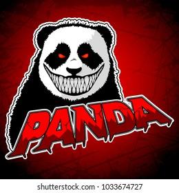 Evil Panda logo on a red background. Vector illustration.