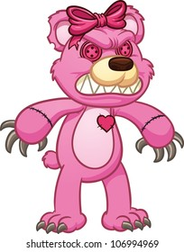 Evil pink teddy bear. Vector illustration with simple gradients. All in a single layer.