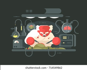 Evil professor doing experiment in bio laboratory. Vector flat illustration