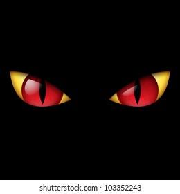 Evil Red Eye. Illustration on black background.