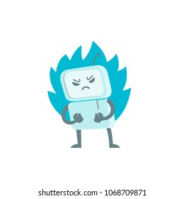 Evil robot in anger with fists and fire. Character virus bot troll. Enraged computer. Flat color vector illustration stock