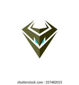 Evil robot head logo. Symbol of a clan, race or community.