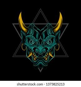 Evil Samurai Devil Ronin vector illustration art