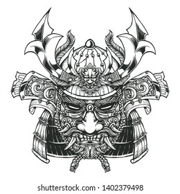 evil samurai head and mask with full decorative helmet and floral mask line art illustration
