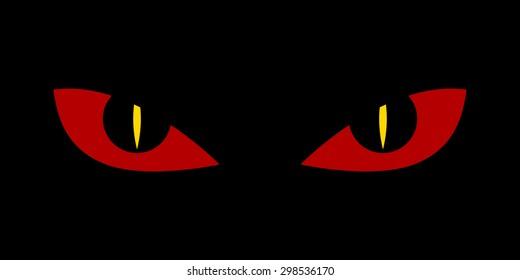 Evil scary eyes - demon snake devil nightmare vector  illustration. Flat style.