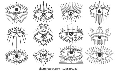 Evil Seeing eye symbol set. Occult mystic emblem, graphic design tattoo. Esoteric sign alchemy, decorative style, providence sight. Vector illustration.