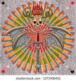 evil skull snake comic illustration tee graphic print design