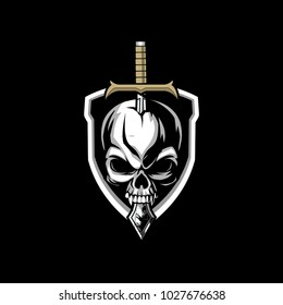 evil skull with sword and shield vector logo template
