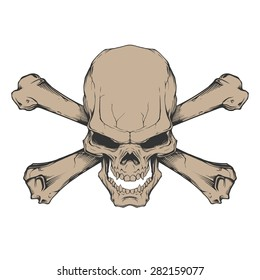Evil skull with two crossed bones