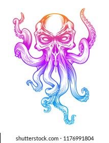 Evil skull-octopus mascot in engraving technique. Vector illustration isolated on white.