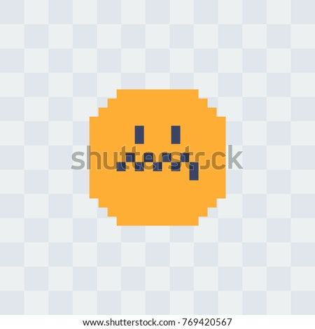 0cb49cbf7d2e Evil smiley. Pixel art icon. 8-bit style. Isolated abstract vector  illustration