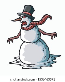 evil snowman vector with doodle style illustration. spooky christmas