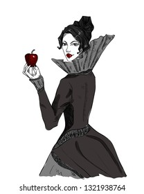 Evil sorceress, witch. Stepmother with a poisoned apple. Fairy-tale character, queen. Gothic vector illustration on white isolated background