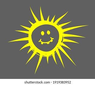 Evil sun on a gray background. Symbol. Vector illustration.