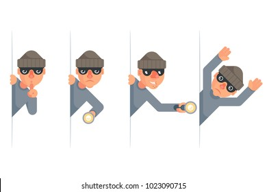 Evil thief greedily grabbing hand flashlight peeping out surrender give up characters cartoon set flat design isolated vector illustration
