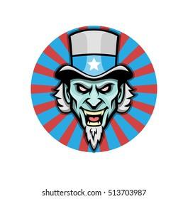 Evil Uncle sam maskot vector logo design. Angry agression