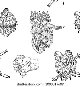 Evil Valentine's Day black and white seamless pattern. Bleeding, pierced, squeezed hearts with daggers, snake,  thorns and fire. Broken relationship, heartache, love, gothic, heavy metal design.