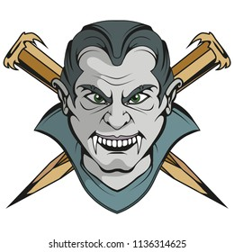Evil vampire. Count Vlad Dracula. Happy Halloween. Hand drawn head of a character vampire with open mouth. Vampire concept. Vector artwork