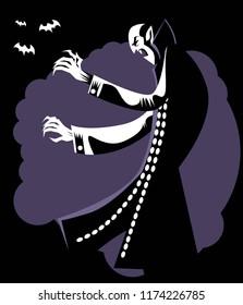 evil vampire in the dark