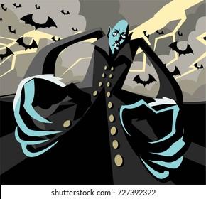 evil vampire monster with bats