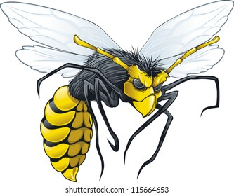 Evil wasp flying in attack