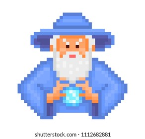 Evil wizard putting spell, cartoon pixel art character isolated on white background. Old school retro 80s,90s 8 bit video game graphics. Halloween mascot. Old bearded magician in blue hat and robe.