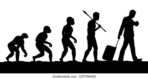 Evolution of ancient caveman to business man silhouette vector