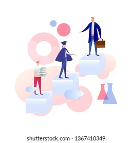 Evolution of Character from Student to Graduated Person and Vocational Specialist. Guy with Books Stand on Low Level, Man in Graduation Mantle in Center, Businessman. Cartoon Flat Vector Illustration.