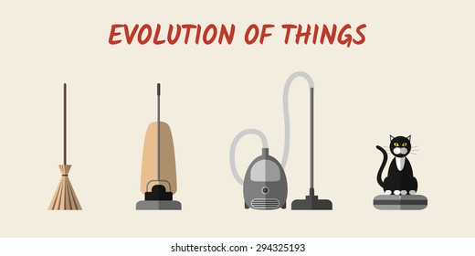 Evolution of cleaning devices: a broom, retro and modern vacuum cleaners, and a robotic one with a cat sitting on it. Set of modern flat style icons, eps10.