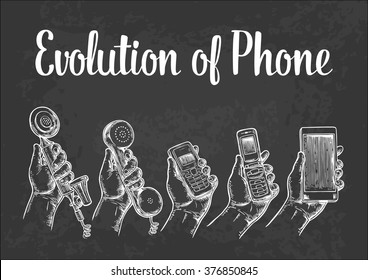 Evolution of communication devices from classic to modern mobile phone. Hand man. Engraving vintage vector white illustration. Isolated on black background. Hand drawn design element for label