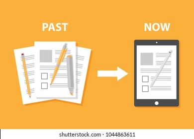 Evolution of devices from paper to smart gadget; innovation digital concept document pass to tablet screen display; future technology device; icon; symbol; object; pen; flat style cartoon vector