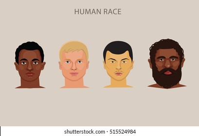 Evolution Of Different Races Vector Set. Race History Human Classification.Set of male heads of different nationalities.