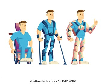 Evolution of exoskeletons for disabled people cartoon vector concept. Man in powered wheelchair, standing with crutches and robotic suit, showing thumbs up while using innovative exosuit illustration