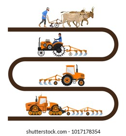 Evolution of the farm tractor infographic. Vector illustration isolated on white background