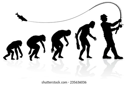 Évolution du Pêcheur. Grande illustration de l'évolution d'un homme de singe à homme en pêcheur en silhouette.