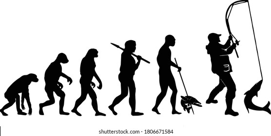 The evolution of fishing. From ape to modern man.