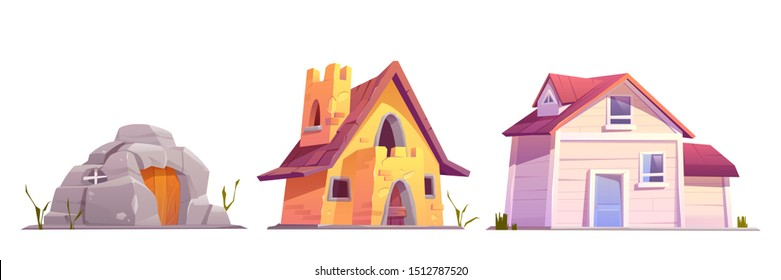 Evolution house architecture set. Dwellings time line from ancient stone construction to modern cottage front view isolated on white background. Housing technology progress Cartoon vector illustration