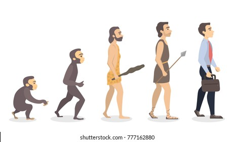 Evolution of man. From monkey to businessman.