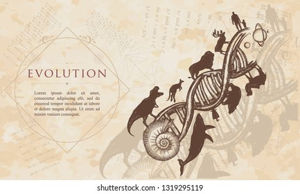 Evolution. People and animals on DNA chains. Renaissance background. Medieval manuscript, engraving art