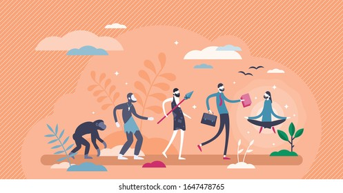 Evolution sequence stages concept, flat tiny person vector illustration. Human growth from primitive caveman to homo sapiens to modern person to balanced, enlightened and meditative, peaceful being.