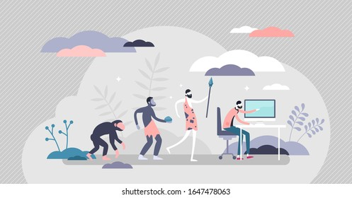 Evolution steps from the cave men to modern human with computer,flat tiny person vector illustration.Funny homo sapiens progress scene with an office worker.Life improvement from primitive to advanced