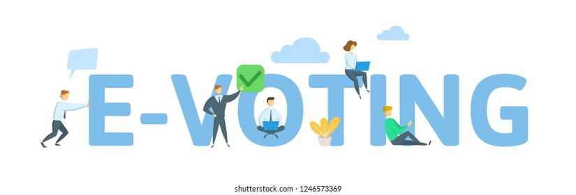E-voting concept of young people using mobile gadgets for online voting. Concept with keywords, letters and icons. Colored flat vector illustration on white background.