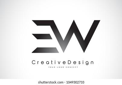 EW E W Letter Logo Design in Black Colors. Creative Modern Letters Vector Icon Logo Illustration.